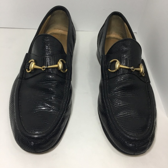 Gucci Shoes - Gucci embossed leather horsebit  Black loafers